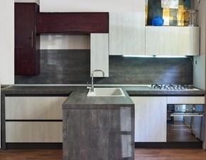 Cucina moderna essenza con penisola rovere white shabby chic in offerta  scontato del -53 %