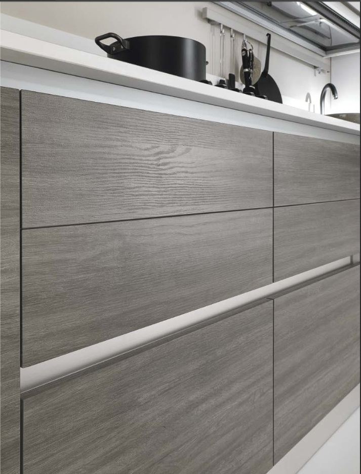 ... Mondi Cucine Cucina Cucina moderna lineare gola in tranche grigio