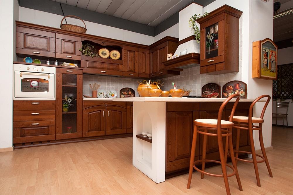 Cucina Astra Cucine Fiorenza Classica Legno noce - Cucine a prezzi scontati