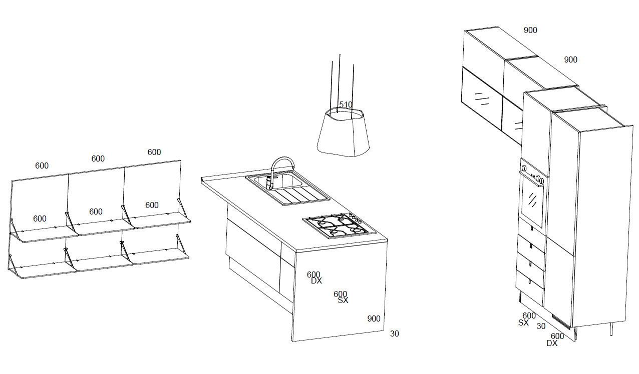 Offerta scavolini basic flirt cucine a prezzi scontati - Cucina in muratura misure ...