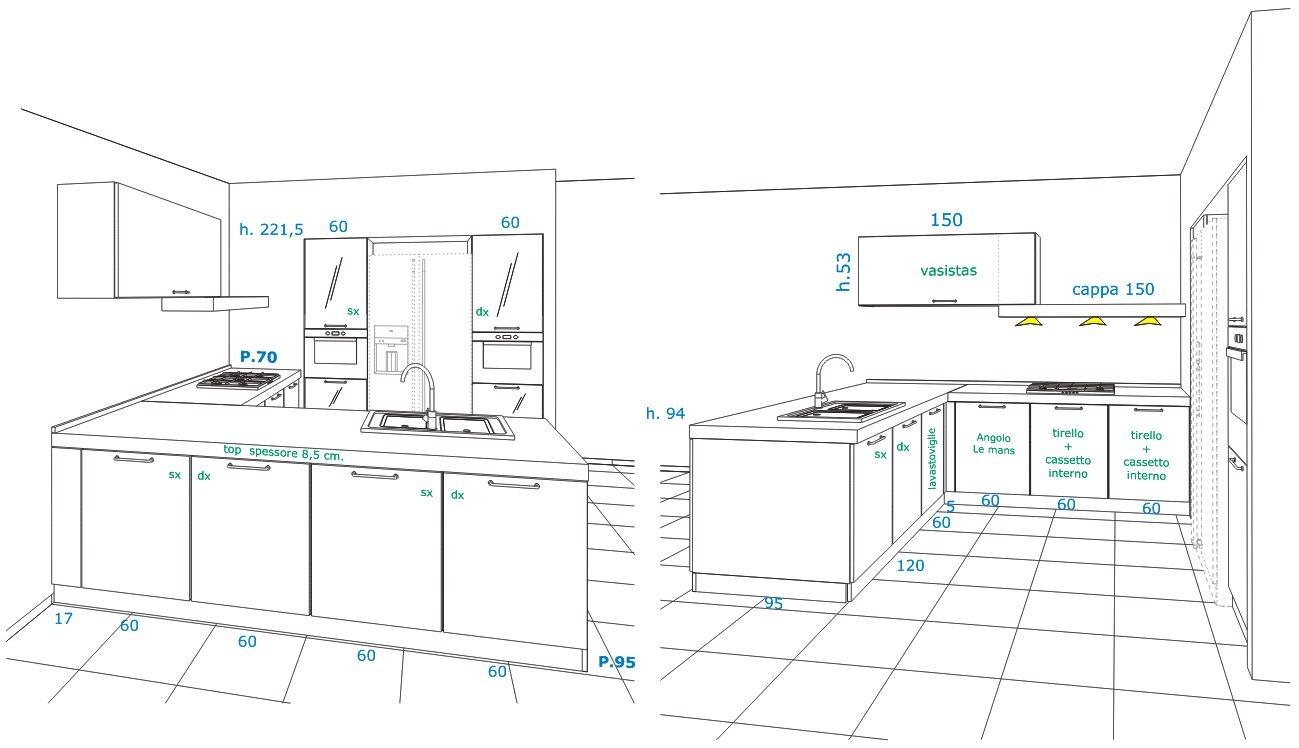 disegno cucina angolare xf39 pineglen