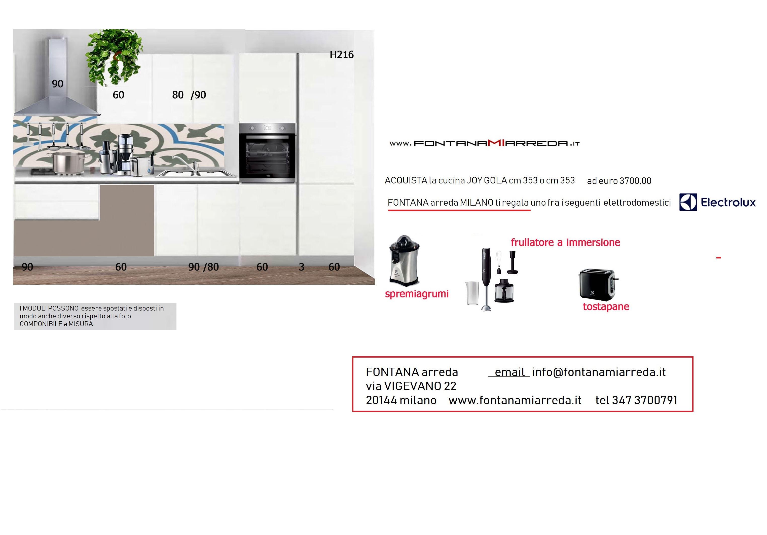 Cucina lineare con gola a soli 3700 00 euro cucine a for Fontana arreda