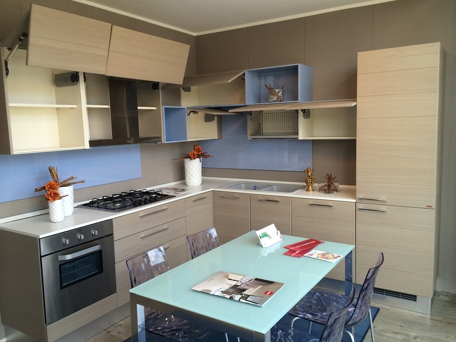 Scavolini cucina open moderna legno rovere corylus cucine a prezzi scontati - Cucina moderna legno ...