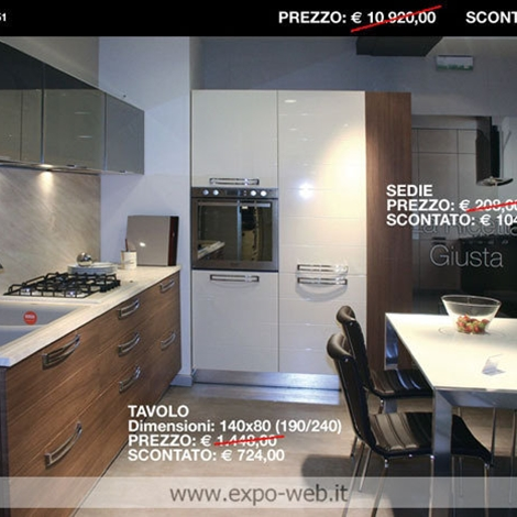 Stosa cucine mod. REPLAY in canaletto e panna lucido