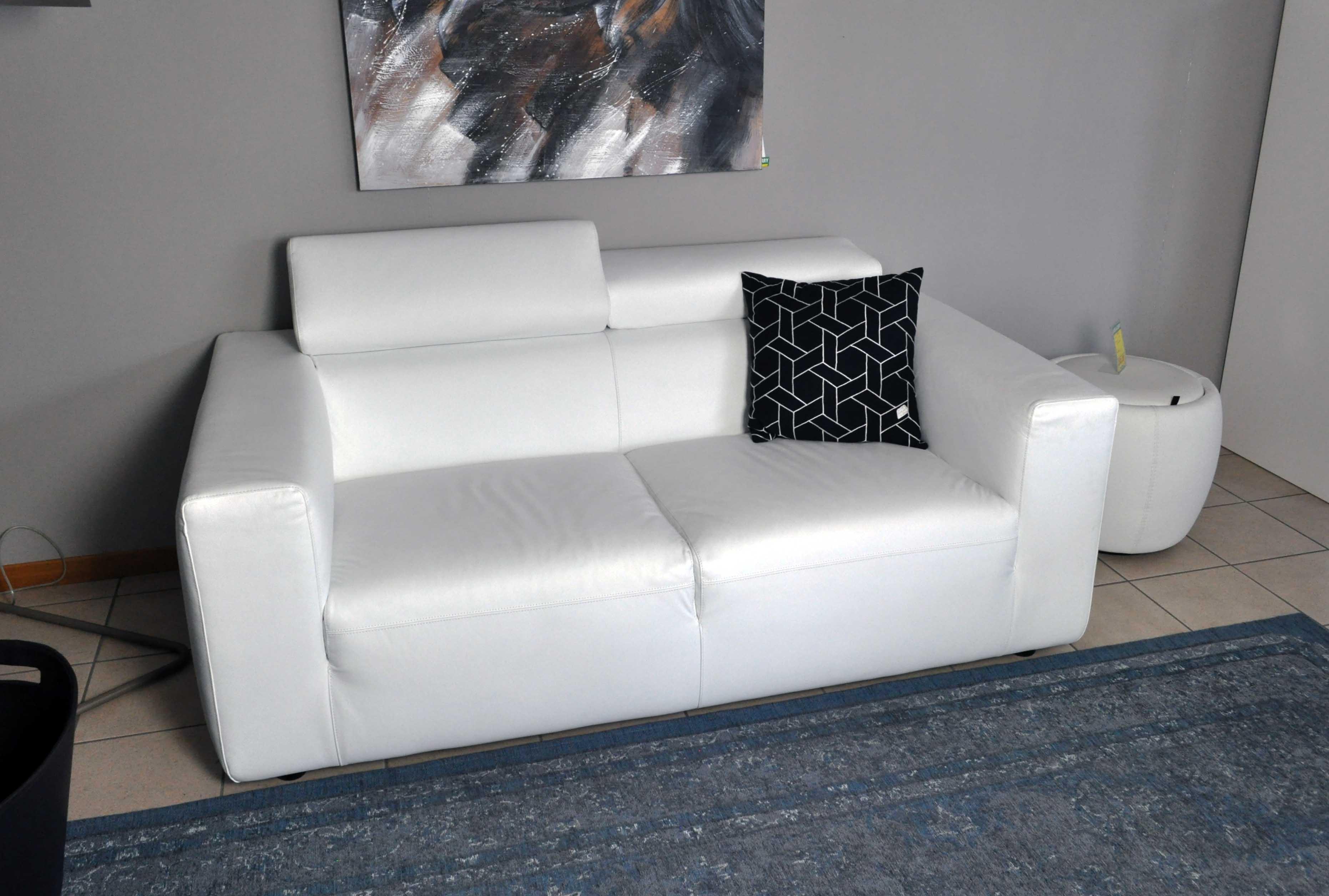 Calligaris divano Upgrade in vera pelle bianco sottocosto - Divani ...