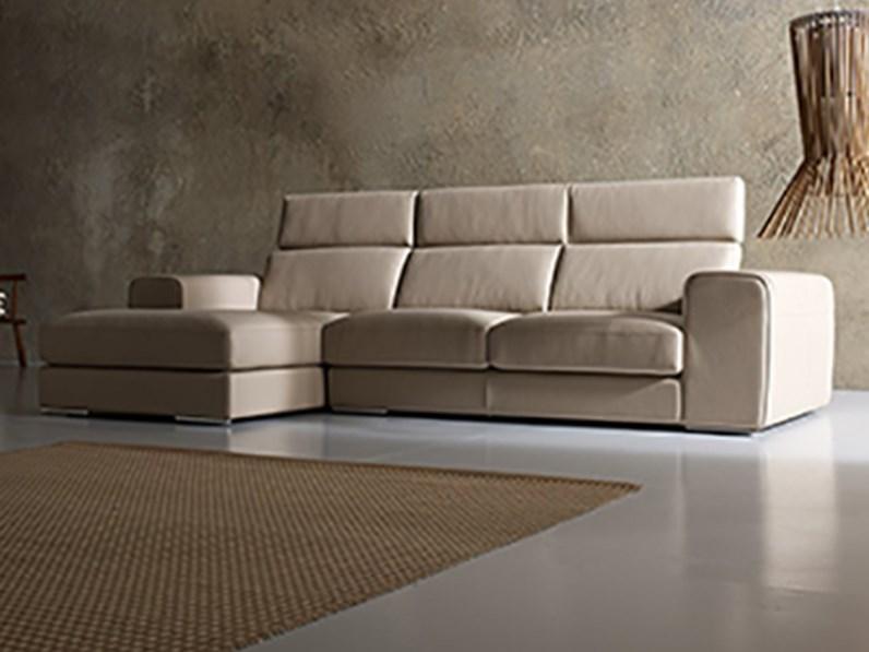Divano a 3 posti con penisola in pelle by alberta salotti nuovo a prezzo scontato divani a - Rivestimento divano costo ...
