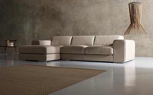 divano a 3 posti con penisola in pelle by alberta salotti