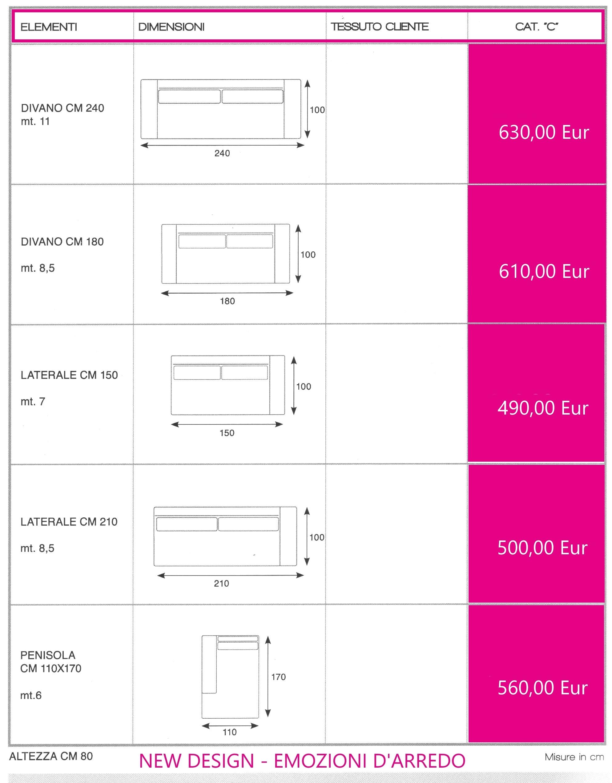 Divano amber dimensioni 240 x 100 divani a prezzi scontati - Divano al dimensioni ...