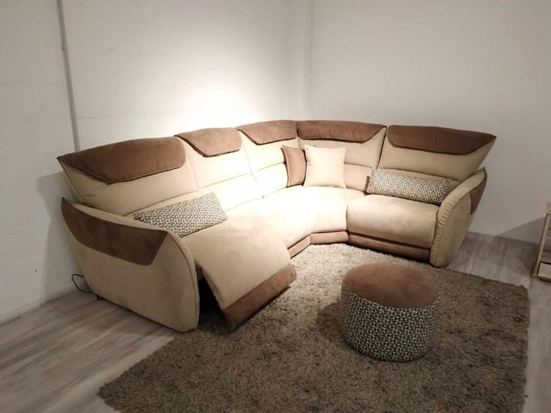 Divano Relax Angolare.Divano Angolare Angolare Meccanismo Relax Tessuto A Timacchia Artigianale In Offerta Outlet