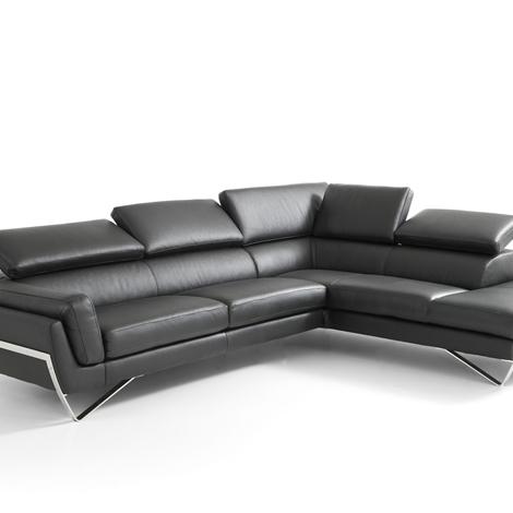 outlet Divano angolare in pelle moderno con poggiatesta reclinabili in promozione