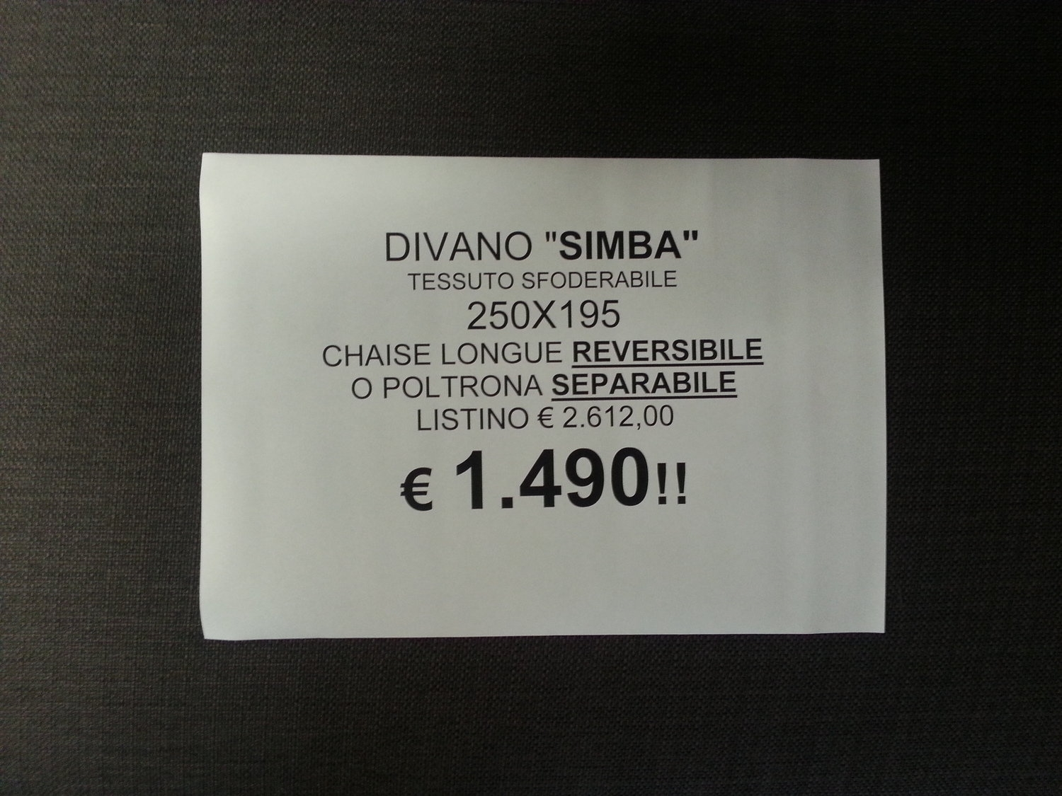 Divano chaiselongue 1.490 euro