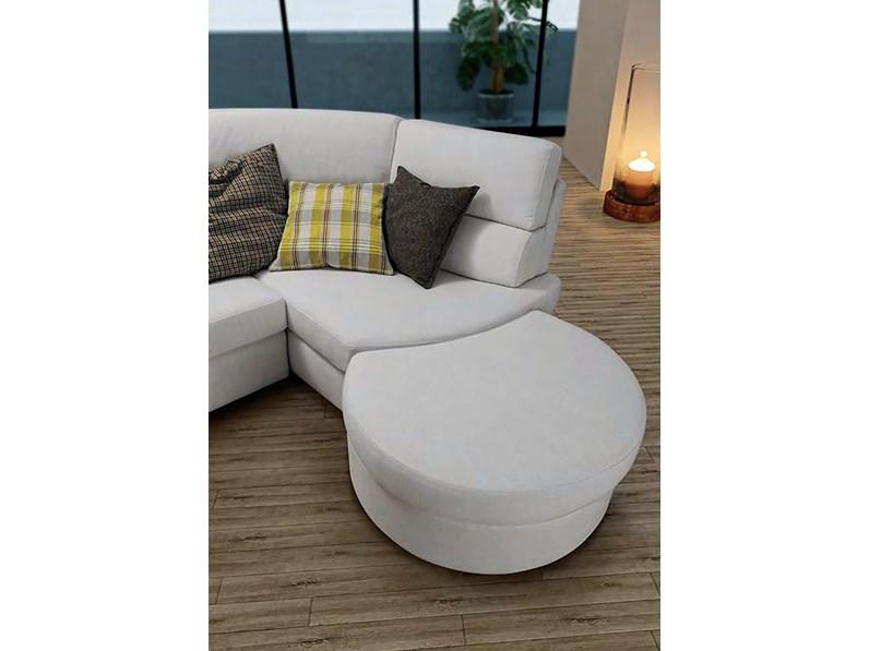 Divano con chaise longue in tessuto modello Rubino Errebi Salotti