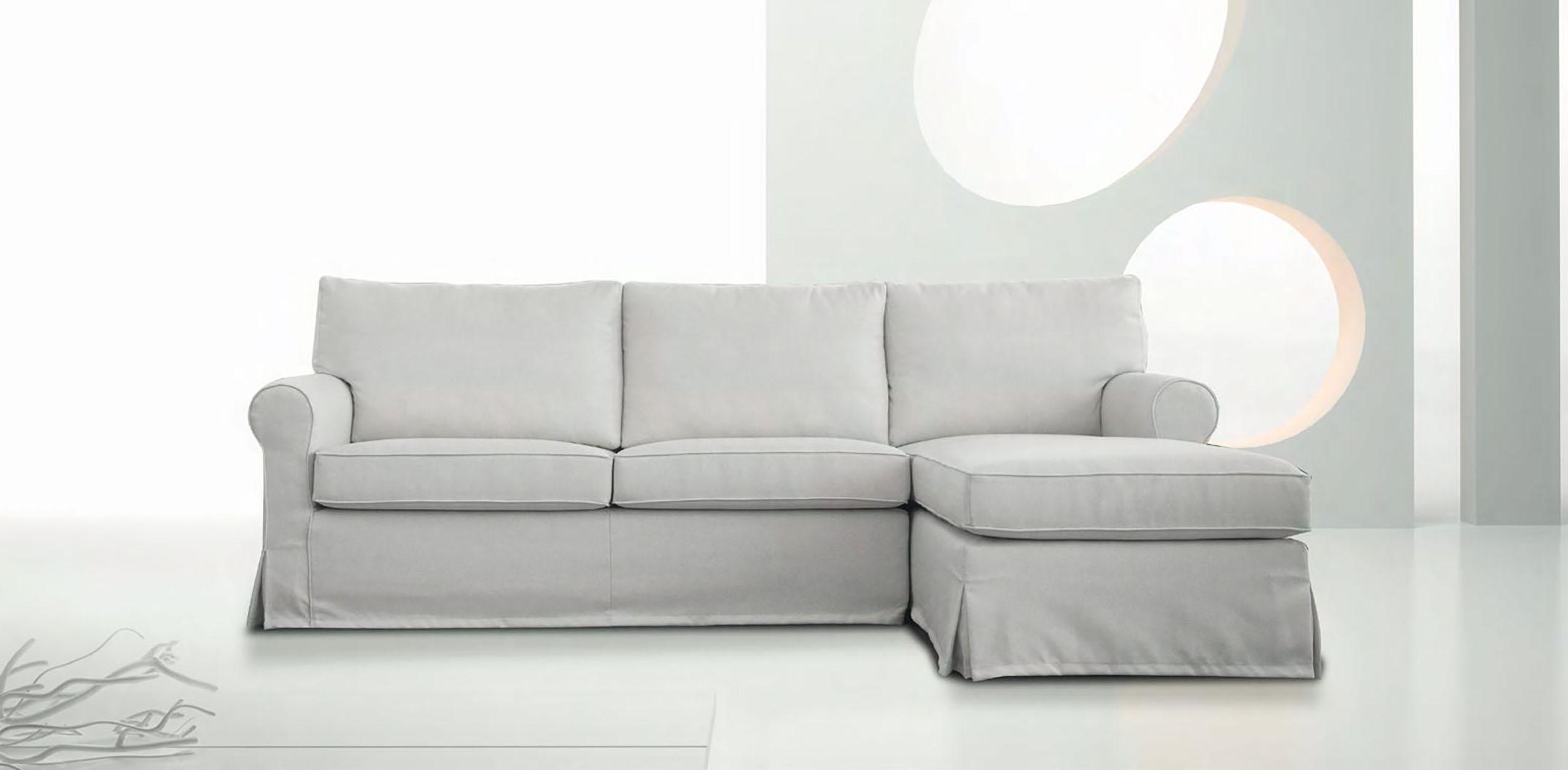Divano con chaise longue in tessuto modello vintage errebi - Divano con chaise longue ...