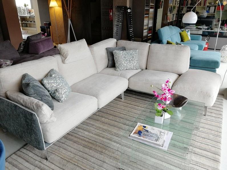 Divano con penisola living minimal samoa offerta outlet for Divano minimal