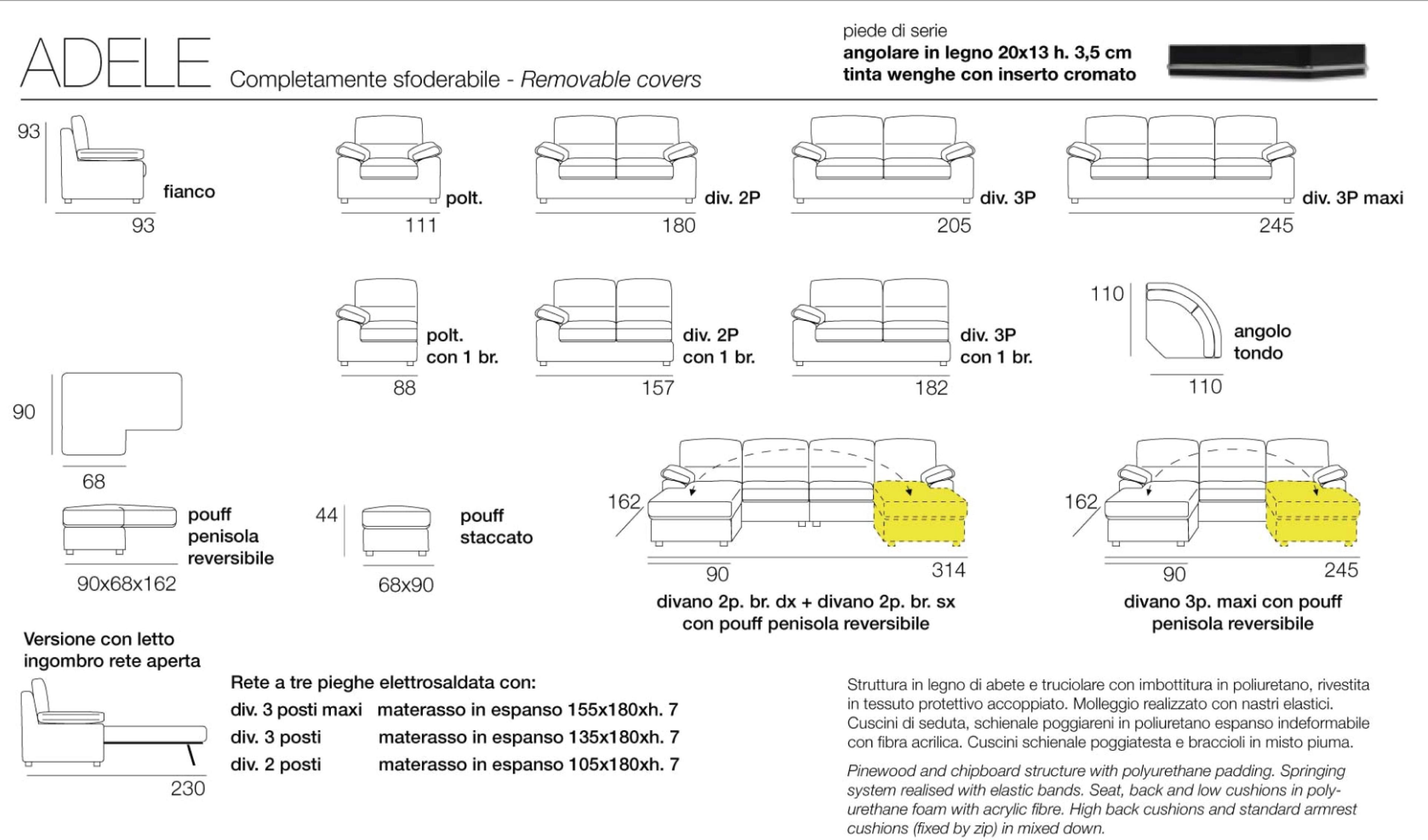 Divano con penisola reversibile adele divani a prezzi for Misure divani con penisola
