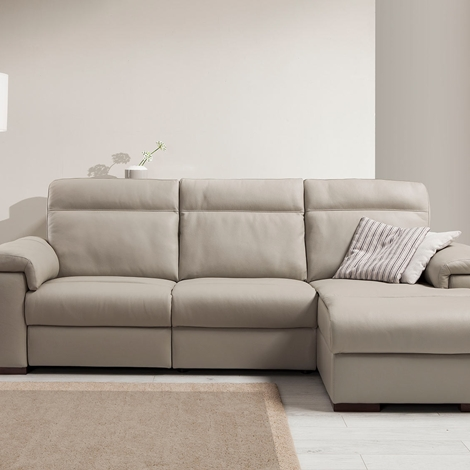 divano con rivestimento in cashmere con chaise longue