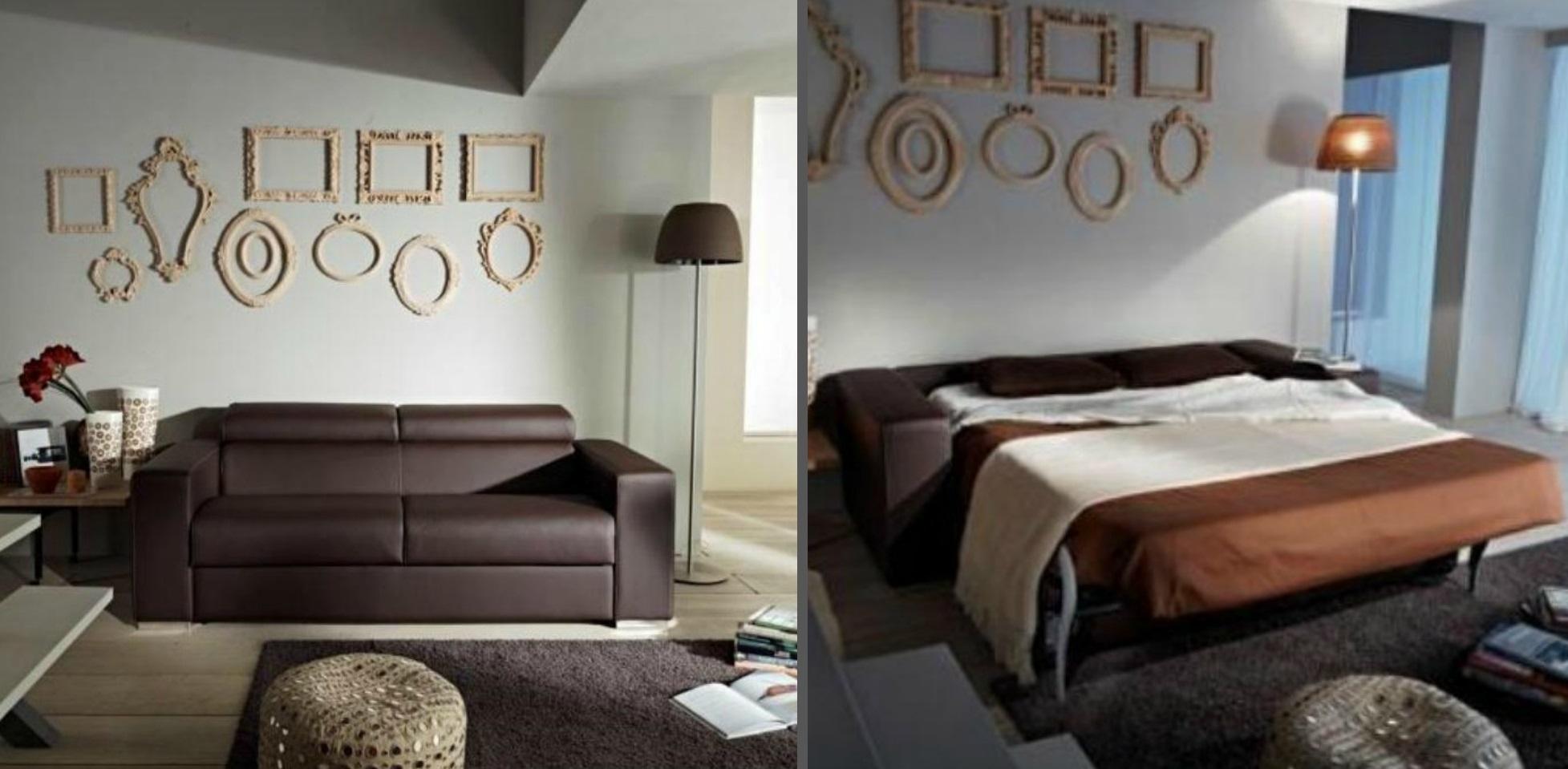 Divano con schienale reclinabile letto estraibile con for Divano letto con materasso