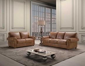 Divano Coppia di divani mod.perugia rivestiti in pelle spessorata in promo con lo sconto del 35% Artigianale a PREZZO OUTLET