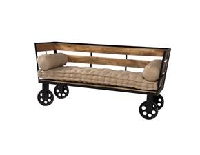 Divano Etnico Outlet Divano industrial con ruote struttura legno massello e ferro in offerta nuovimondi oulet Divani lineari