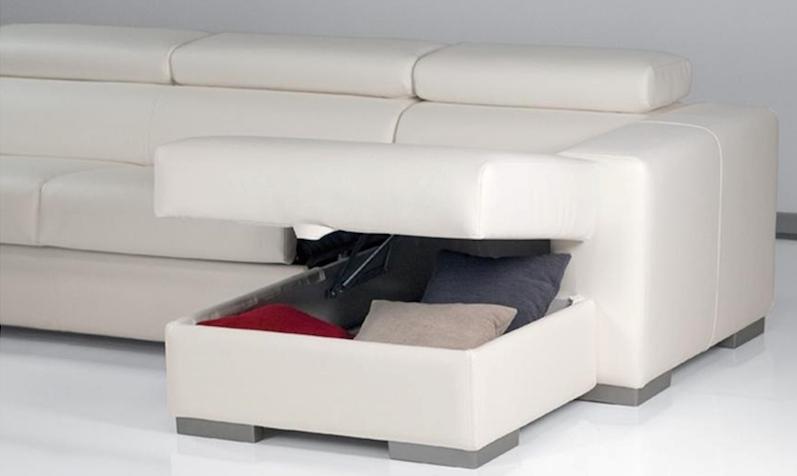 Divano letto con penisola contenitore fine serie divani for Divano con penisola ikea