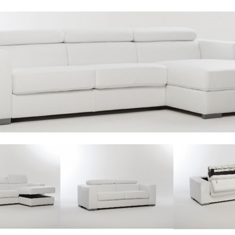 Divano letto in pelle spessorata con contenitore divani a prezzi scontati - Divani letto in pelle ...