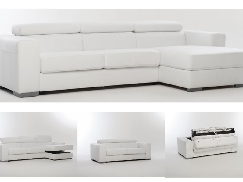 Divano letto in pelle spessorata con contenitore divani for Divano letto con contenitore