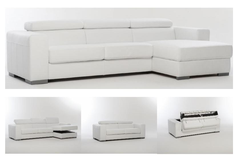 Divano letto in pelle spessorata con contenitore divani - Divano letto con contenitore ...