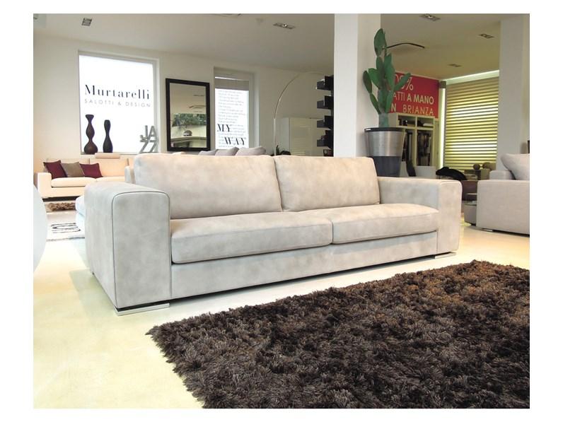 Maxi divano rivestito in Nabuk colore tortora - Divani a prezzi ...