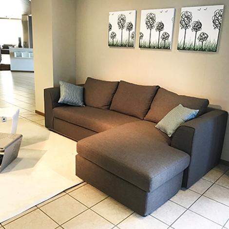 Divano rigo salotti alfa divani con chaise longue reversibile in tessuto divani a prezzi scontati - Divano con chaise longue ...