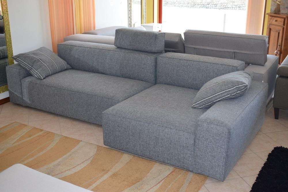 Divano schienale basso con chaise longue in cotone grigio - Divano angolare prezzo basso ...