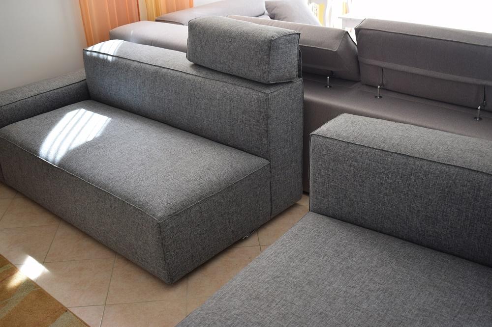 Divano Schienale basso con chaise longue in cotone grigio ...