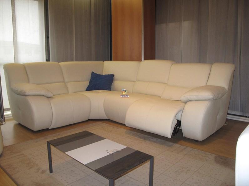 Mambo divano angolare con movimento relax in vera pelle for Divano angolare
