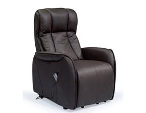 Poltrona relax Poltrona relax nera in pelle design e moderno  Md work PREZZI OUTLET