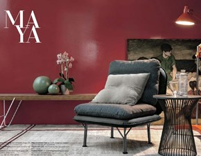 Poltrona Tomasella modello Maya. Poltrona con sedile e schienale rivestiti in ecopelle vintage e cuscino di cat. 1/one easy. Cuscini e poltrona sfoderabili.