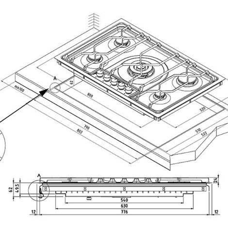 Aeg electrolux elettrodomestico 85551 piano cottura for Misure piano cottura 4 fuochi