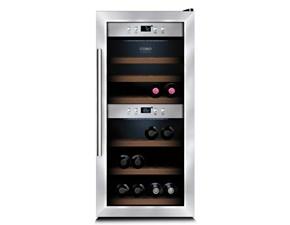 Cantinetta refrigerante Caso modello WineMaster 24 Silver. Cabinetta refrigerante per vino con 2 zone separate di refrigerazione.