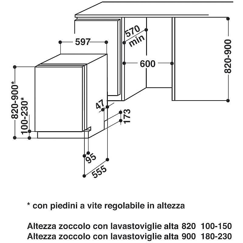 Elettrodomestico whirlpool w 77 2 elettrodomestici a for Lavastoviglie incasso misure