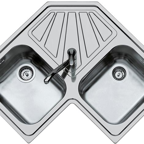 Foster Lavello cucina angolare con due vasche e scivolo in acciaio ...