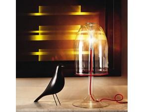 Lampada da tavolo con filo rosso Medusa di Cattelan, realizzata in vetro trasparente borosilicato