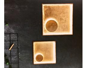 Illuminazione Fabas Luce modello Fano 3421-23-323 in Metallo rivestito in Vera Foglia Oro,Lampade da parete e da soffitto, alimentazione a led