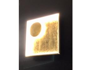 Illuminazione Fabas Luce Modello Fano 3421-26-323 in Metallo Vera Foglia Oro ,Lampada da parete o soffitto , dimensione 40x40 cm.