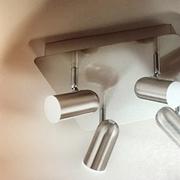 Illuminazione,lampada a soffitto con fari direzionabili, Fabas Luce modello Spotty 3328-74-178 in nichel satinato - diffusione a Led dimerabile.