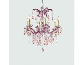 Lampada a sospensione stile Classica Lampadario cristalli rosa antico  Dialma brown con forte sconto
