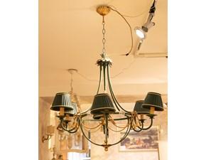 Lampada Artigianale Lampadario in ferro battuto vestigia verde  a PREZZI OUTLET