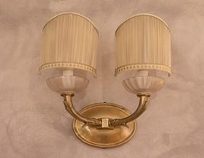 Lampada da parete Coppia di applique ottone/murano/organza Grande arredo con un ribasso esclusivo