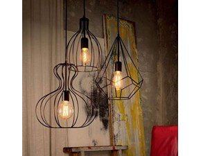 Lampada Tris lampade a sospensione ampolla di ideal lux Artigianale in OFFERTA OUTLET