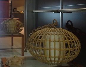 Lampada a sospensione con paralume in legno bambù e diffusore in polipropilene colore bianco
