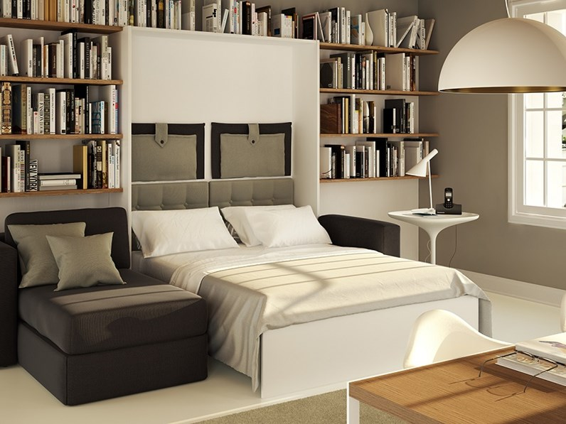 Letto a scomparsa con materasso memory scontato for Parete attrezzata con divano
