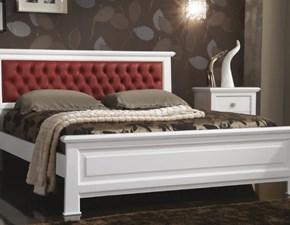 Letto in legno con gambe Mottes mobili letto matrimoniale con testata imbottita rivestita in ecopelleArtigianalea prezzo ribassato