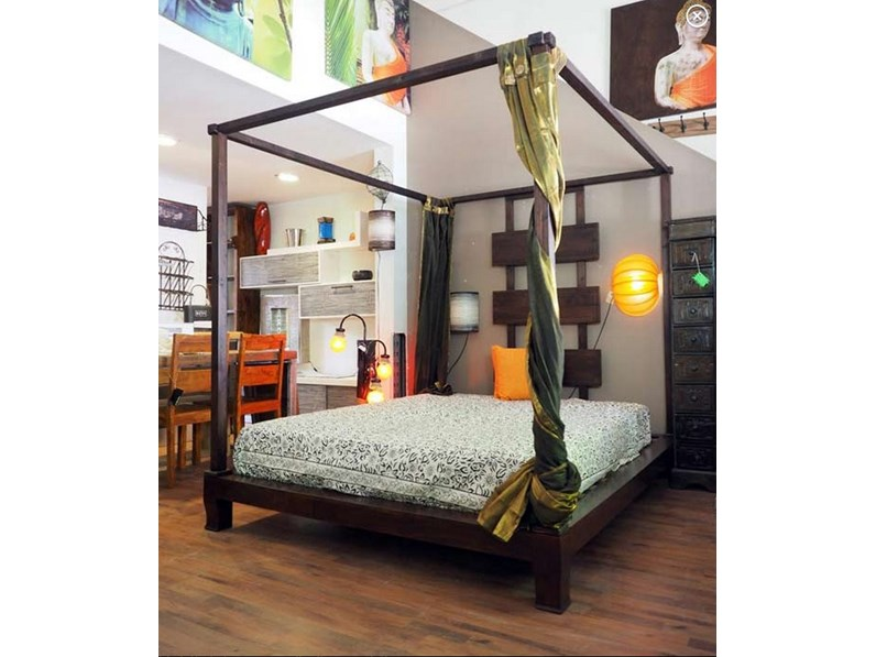 LETTO IN NOCE A BALDACCHINO LINEA ETNICO OUTLET